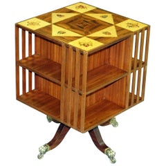 1 of 2 Mahogany & Maple Revolving Library Bookcases Inlaid Royal Armorial Crests