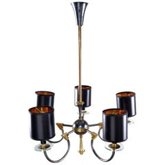 1 of 2 Maison Jansen 5-Light Bronze, Glass and Gunmetal Chandelier Black Shades