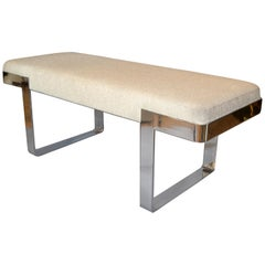 1 of 2 Milo Baughman Benches Linen Fabric in Beige on Steel Base Pace Collection