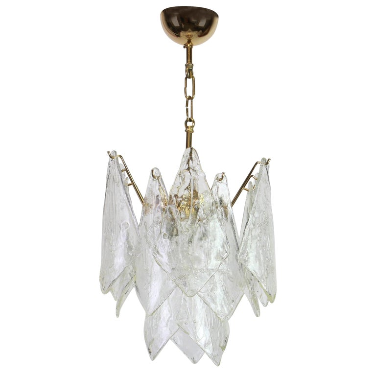 1 of 2 Murano Glass Chandelier Designed by Carlo Nason for Mazzega, 1970s 1