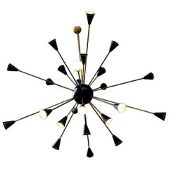 1 of 2 Oversized Stilnovo Sputnik Chandeliers, Italy, 1950s