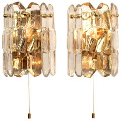 1 of 2 Pair of J.T. Kalmar 'Palazzo' Wall Light Fixtures Gilt Brass and Glass