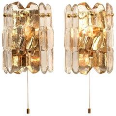 1 of 2 Pair of J.T. Kalmar 'Palazzo' Wall Light Fixtures Gilt Brass and Glass