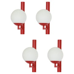 1 of 2 Pairs Red color Sconces Opal Glass Wall Lights, Germany, 1960s