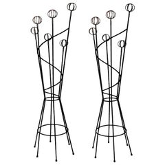 1 of 2 Roger Feraud Mid-Century Modern French Black & Gold Hat Rack, Space Age