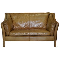 1 of 2 Small and Compact Halo Reggio Tan Brown Leather Two-Seat Sofas