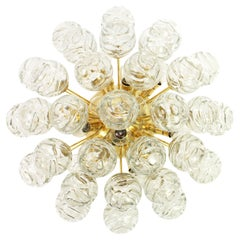 1 of 2 Spectacular Sputnik Flush Mount Glass Snow Balls by Doria, Germany, 1970s