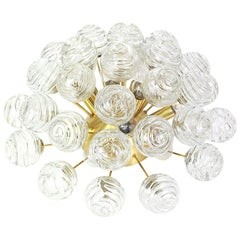 1 of 2 Spectacular Sputnik Flushmount Glass Snow Balls by Doria, Germany, 1970s