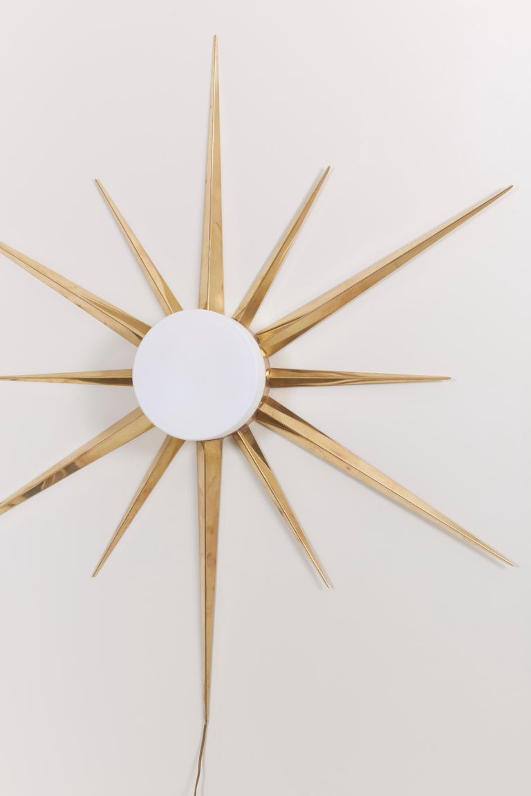 1 of 2 Starburst Brass and Glass Flush Mount in the Manner of Angelo Lelli 5