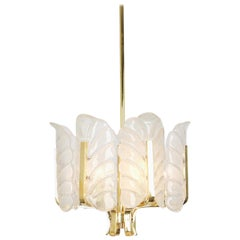 1 of 2 Stunning Carl Fagerlund Chandelier Murano Glass Leaves, 1960s