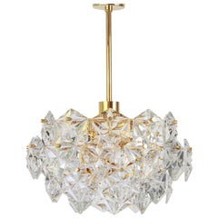 1 of 2 Stunning Chandelier, Brass and Crystal Glass by Kinkeldey, Germany, 1970