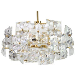 1 of 2 Stunning Chandelier, Brass and Crystal Glass by Kinkeldey, Germany, 1970s