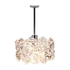 1 of 2 Stunning Chandelier, Chrome and Crystal Glass by Kinkeldey, Germany, 1970
