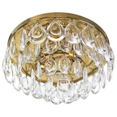 1 of 2 Stunning Flushmount, Brass and Crystal Glass by Palwa, Germany, 1970