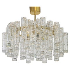 1 of 2 Stunning Murano Glass Tubes Chandelier by Doria, Germany, 1960s
