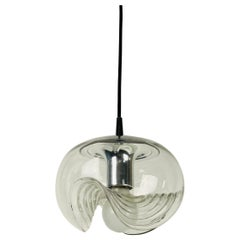 1 of 2 Transparent Glass Pendant Lamp by Koch & Lowy for Peill and Putzler, 1960