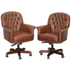 Very Comfortable Brown Leather Chesterfield Captains Directors Armchair