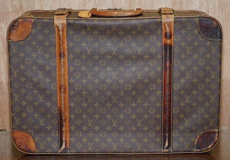 1 of 2 Vintage Brown Leather Louis Vuitton Strapped Bronze Monogram Suitcases For Sale 4