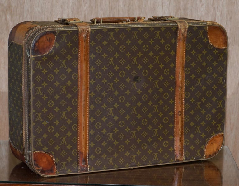 1 of 2 Vintage Brown Leather Louis Vuitton Strapped Bronze Monogram Suitcases For Sale 5