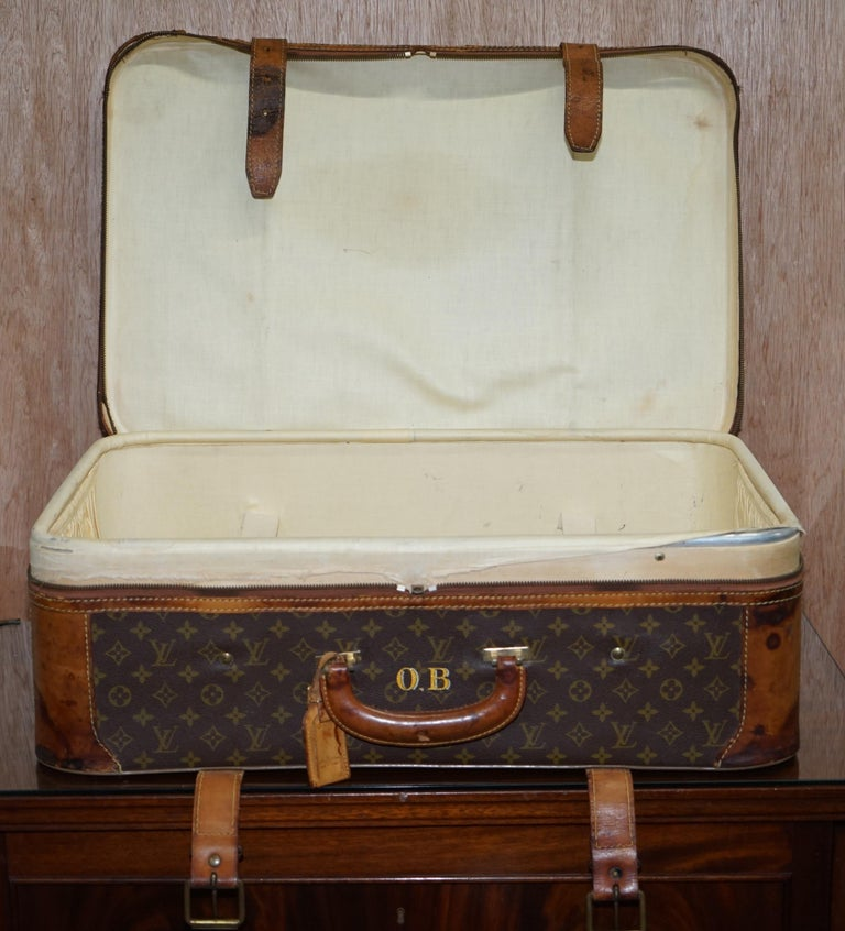 1 of 2 Vintage Brown Leather Louis Vuitton Strapped Bronze Monogram Suitcases For Sale 6
