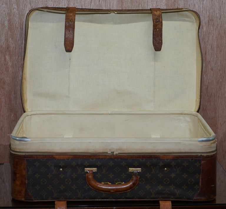 1 of 2 Vintage Brown Leather Louis Vuitton Strapped Bronze Monogram Suitcases For Sale 10