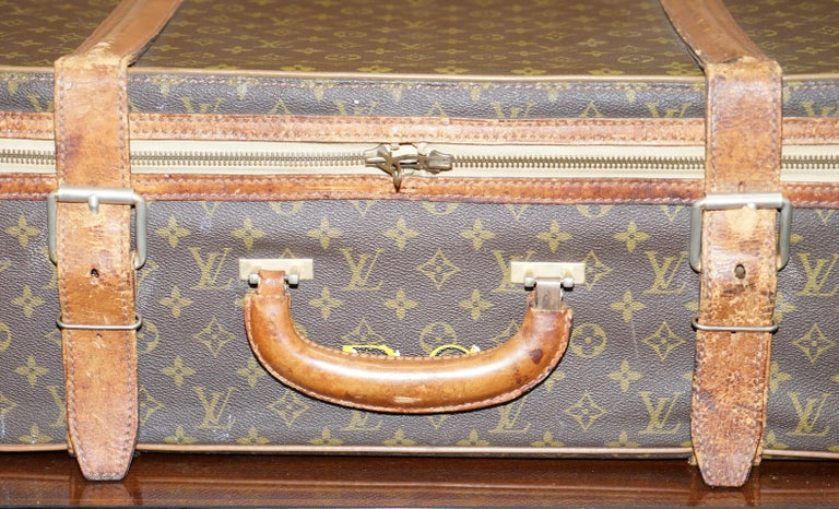 Modern 1 of 2 Vintage Brown Leather Louis Vuitton Strapped Bronze Monogram Suitcases For Sale