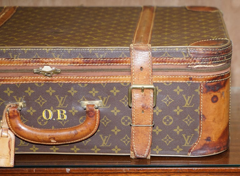Hand-Crafted 1 of 2 Vintage Brown Leather Louis Vuitton Strapped Bronze Monogram Suitcases For Sale