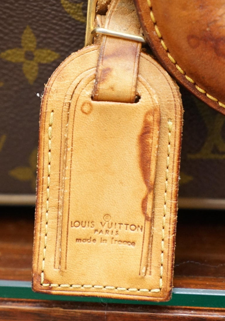 1 of 2 Vintage Brown Leather Louis Vuitton Strapped Bronze Monogram Suitcases In Distressed Condition For Sale In London, GB