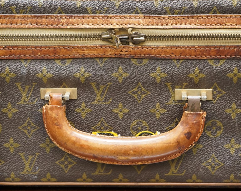 20th Century 1 of 2 Vintage Brown Leather Louis Vuitton Strapped Bronze Monogram Suitcases For Sale