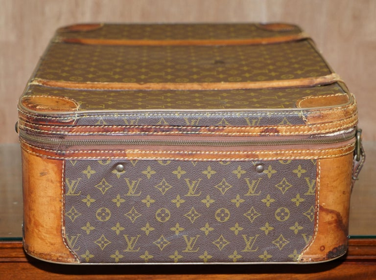1 of 2 Vintage Brown Leather Louis Vuitton Strapped Bronze Monogram Suitcases For Sale 1