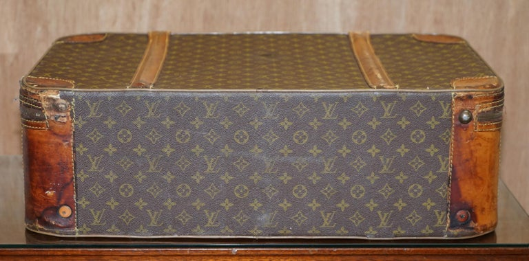 1 of 2 Vintage Brown Leather Louis Vuitton Strapped Bronze Monogram Suitcases For Sale 2
