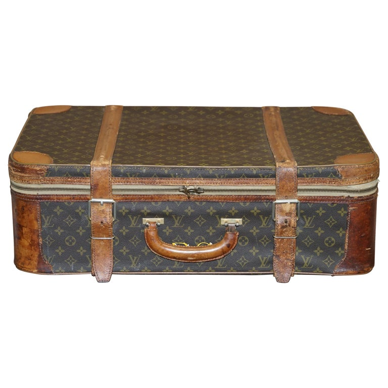1 of 2 Vintage Brown Leather Louis Vuitton Strapped Bronze Monogram Suitcases For Sale