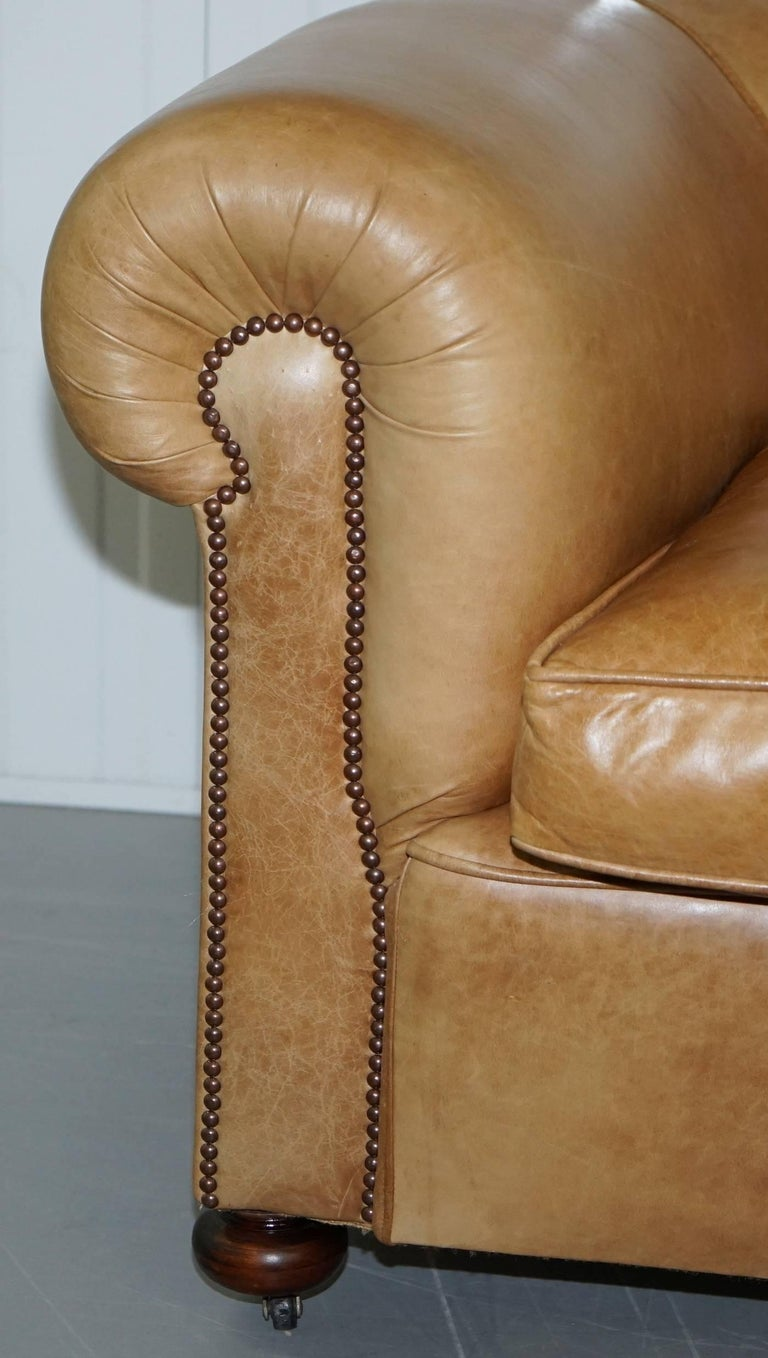 1 of 2 Vintage Victorian Style Restored Brown Leather Club Sofas Coil Sprung For Sale 5