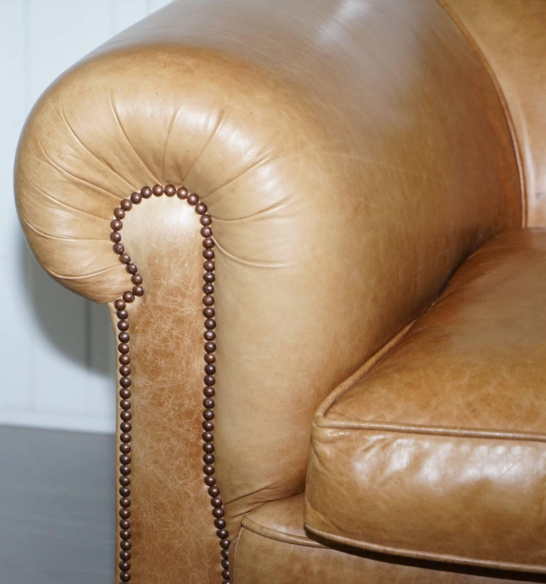 1 of 2 Vintage Victorian Style Restored Brown Leather Club Sofas Coil Sprung For Sale 6