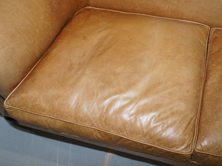 1 of 2 Vintage Victorian Style Restored Brown Leather Club Sofas Coil Sprung For Sale 8