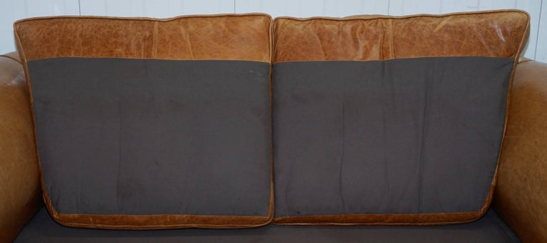 1 of 2 Vintage Victorian Style Restored Brown Leather Club Sofas Coil Sprung For Sale 9