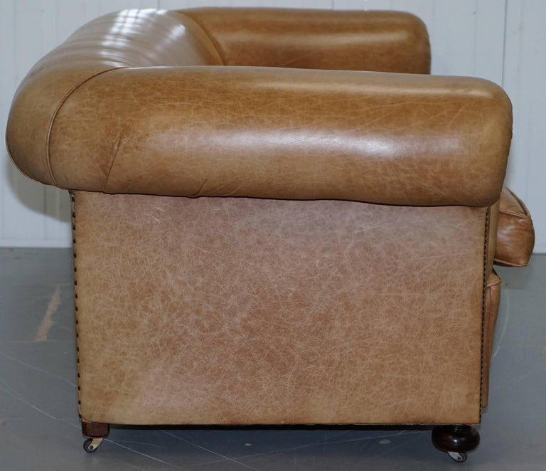 1 of 2 Vintage Victorian Style Restored Brown Leather Club Sofas Coil Sprung For Sale 10