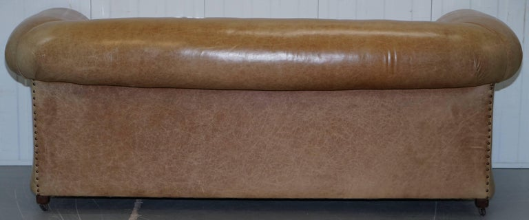 1 of 2 Vintage Victorian Style Restored Brown Leather Club Sofas Coil Sprung For Sale 11