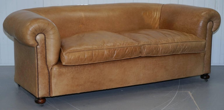 British 1 of 2 Vintage Victorian Style Restored Brown Leather Club Sofas Coil Sprung For Sale