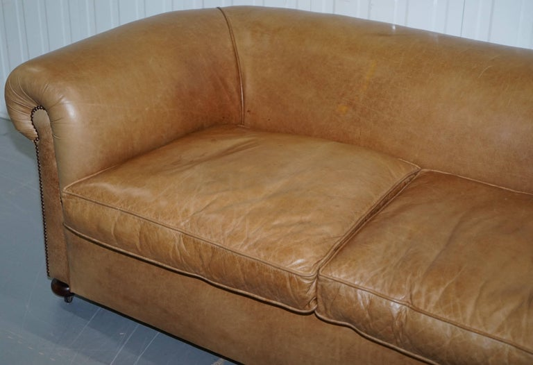Hand-Carved 1 of 2 Vintage Victorian Style Restored Brown Leather Club Sofas Coil Sprung For Sale