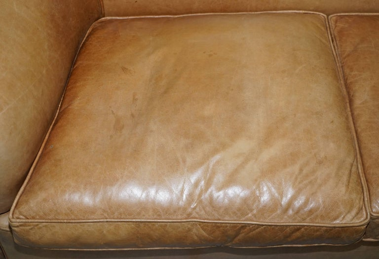 19th Century 1 of 2 Vintage Victorian Style Restored Brown Leather Club Sofas Coil Sprung For Sale