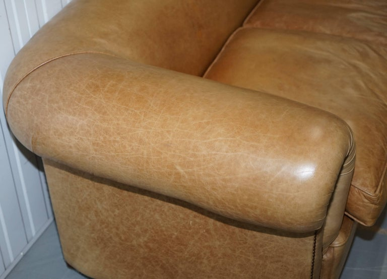 1 of 2 Vintage Victorian Style Restored Brown Leather Club Sofas Coil Sprung For Sale 2