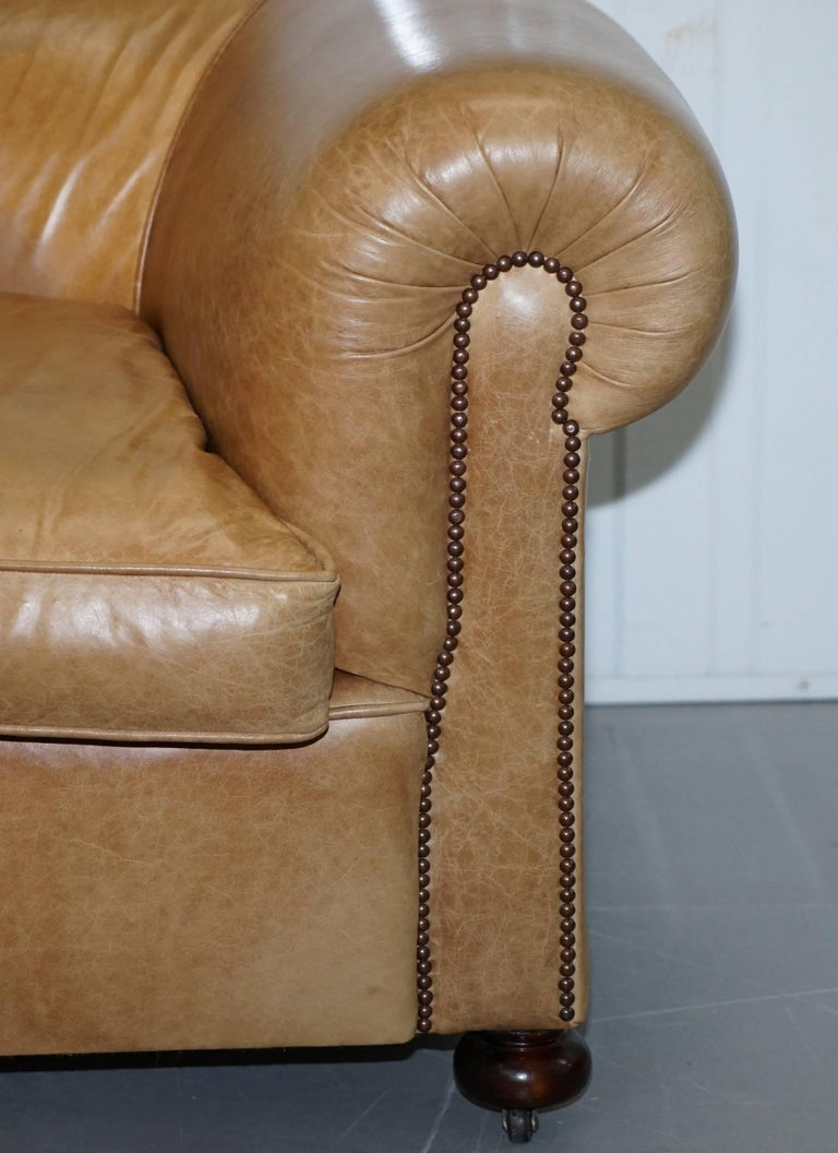 1 of 2 Vintage Victorian Style Restored Brown Leather Club Sofas Coil Sprung For Sale 3