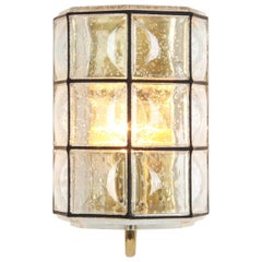 1 of 2 Wall Lights Sconces Iron Glass by Limburg, Germany, 1960s
