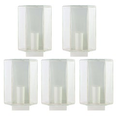 1 of 3 1970s Minimalist White and Clear Glass Wall Lights by Glashütte Limburg