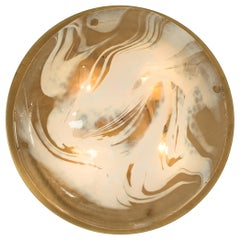 1 of 3 Brass and Blown Murano Glass Wall Lights/Flushmounts, for Madeleine