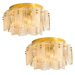 1 of 3 Pairs Extra Light Massive Glass Brass Flush Mounts in the Style of Kalmar