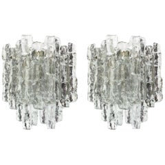 1 of 3 Pairs of Large Kalmar Sconces Murano Wall Lights, Austria, 1960s