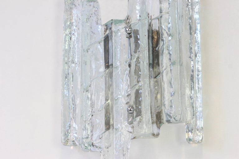 1 of 3 Pairs of Large Kalmar Style Sconces Murano Wall Lights, Austria, 1960s In Good Condition For Sale In Aachen, DE