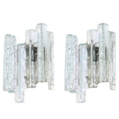 1 of 3 Pairs of Large Kalmar Style Sconces Murano Wall Lights, Austria, 1960s